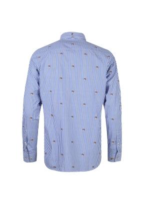 올리버 자수 스트라이프 셔츠 (BL)