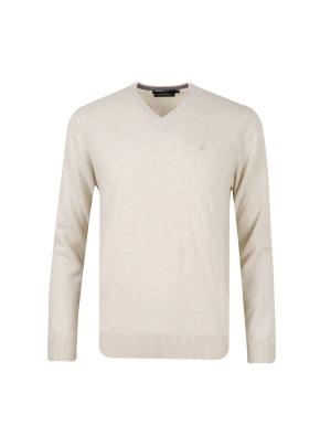 울캐시 브이넥 스웨터 (LBE)