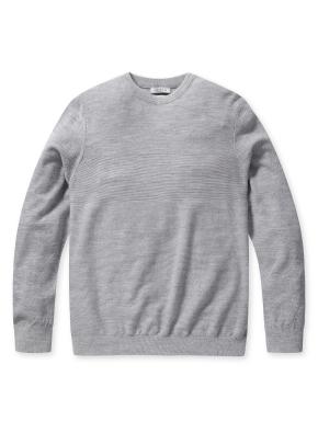 울 조직감 라운드 스웨터 (GR)