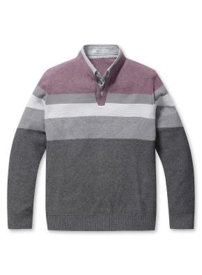 셔츠 레이어드 블록 스웨터 (PK)