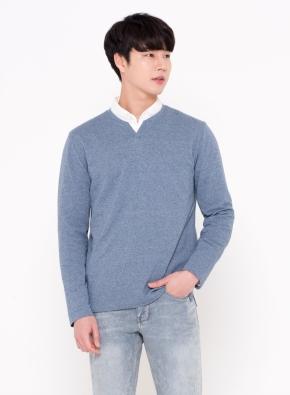 리플 슬릿넥 티셔츠 (BL)