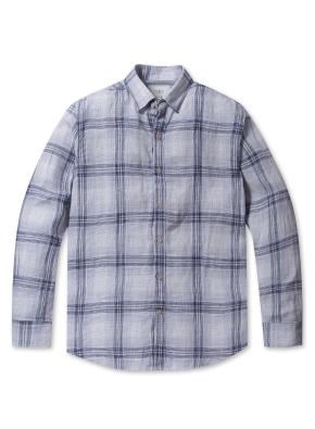 린넨 소프트 체크 셔츠 (BL)