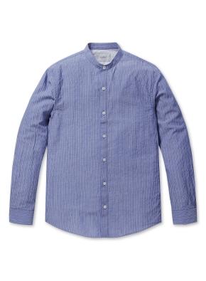 이지케어 스트라이프 헨리넥 셔츠 (BL)