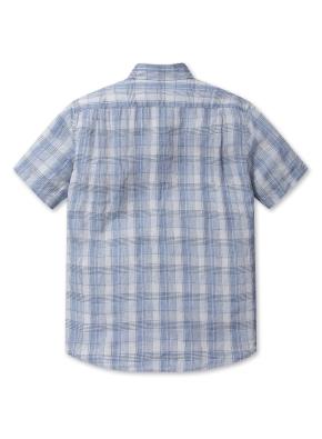 린넨 소프트 체크 반팔 셔츠 (BL)