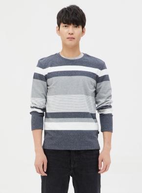 코튼 블럭 스트라이프 티셔츠 (GR)