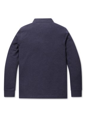 리플 솔리드 카라 티셔츠 (NV)