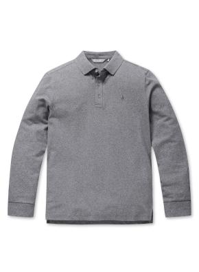컬러 자수 카라 긴팔 티셔츠 (GR)