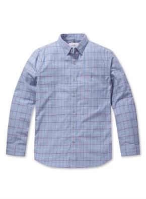코튼 자수 체크 셔츠 (BL)
