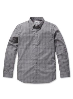 코튼 자수 체크 셔츠 (GR)