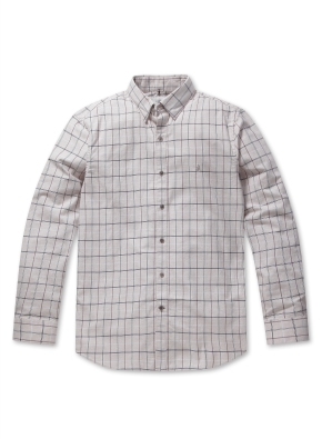 코튼 자수 체크 셔츠 (LBE)