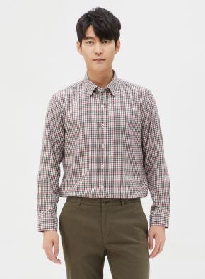 코튼 컬러 체크 셔츠 (BE)