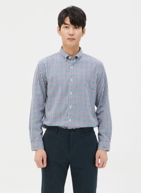 코튼 컬러 체크 셔츠 (BL)