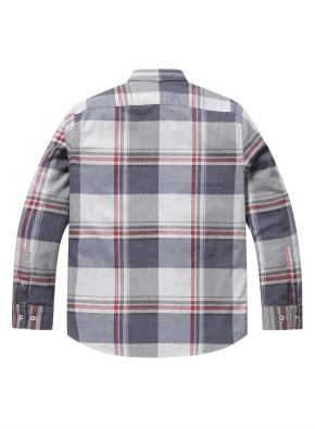 라인 컬러 포인트 체크 울 셔츠 (GR)