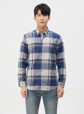 라인 컬러 포인트 체크 울 셔츠 (NV)