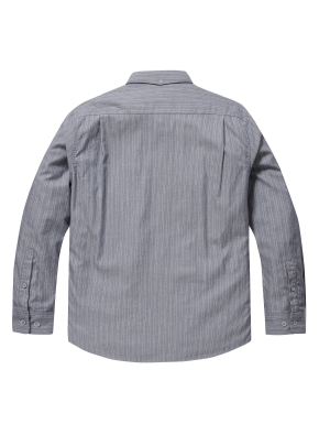 스트라이프 배색 코튼 셔츠 (BL)