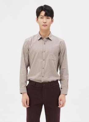 스트라이프 배색 코튼 셔츠 (PK)