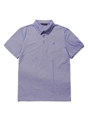 핀스트라이프 카라 반팔 티셔츠 (BL)