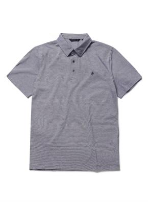 핀스트라이프 카라 반팔 티셔츠 (NV)
