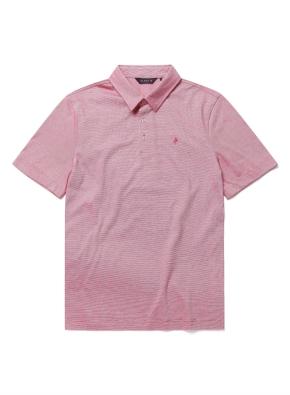 핀스트라이프 카라 반팔 티셔츠 (RD)