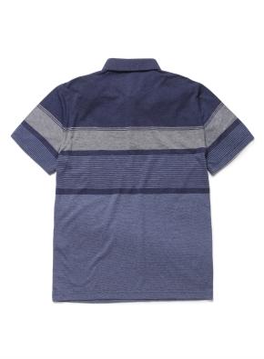 변형 블록 카라 반팔 티셔츠 (NV)