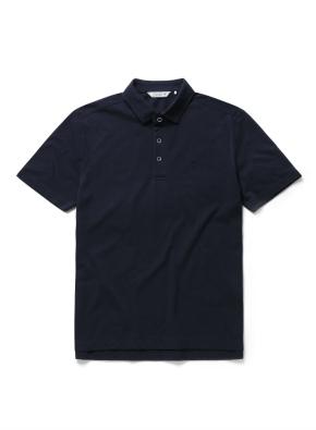 자수 리플 카라 반팔 티셔츠 (NV)