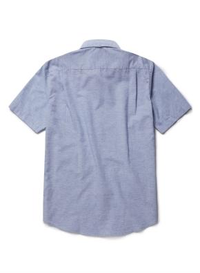 린넨 자수 포인트 반팔 셔츠 (BL)