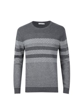 앙고라혼방 자카드 패턴 스웨터 (DGR)