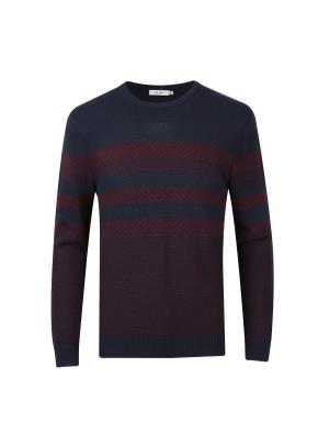 앙고라혼방 자카드 패턴 스웨터 (NV)