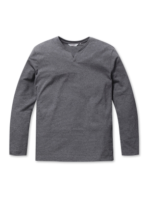 리플 슬릿넥 티셔츠 (GR)