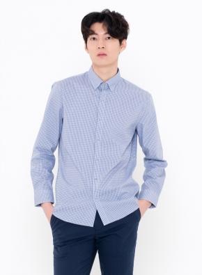 변형체크 세미포멀 셔츠 (BL)