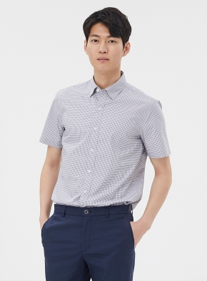 [2장에 59,000원] 체크 세미포멀 반팔 셔츠 (GR)